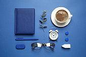 Flat lay composition inspired by color of the year 2020