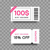 Gift voucher template set. Discount fashion card. Coupon with special offer for shopping or beauty salon. Isolated on transparent background with shadow. Vector
