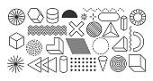 Set of geometric shapes. Memphis design elements for vintage or retro graphics. Geometric shapes collection for banner, poster, advertisement and web design.
