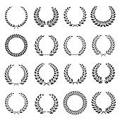 Laurel wreath, circles silhouette icons set. Round frames, boarders with branches, leaves.