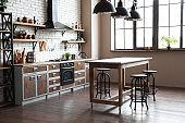 Beautiful kitchen interior with furniture