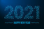 2021 New Year illustration made by points and lines, polygonal wireframe mesh on night sky, dark blue background. Low poly greeting card.