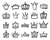 Crown icon sketch set, king or queen royal decoration