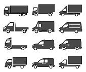 Cars, autos, trucks black icons set isolated on white. Lorry, van, camion pictograms collection.