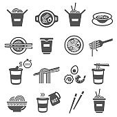 Instant noodles, utensils for eating, cooking bold black silhouette and line icons set isolated on white.