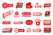 Live stream red icons, bars different design set. Tv internet, online streaming banners of lower third.