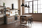 New modern oven in stylish kitchen