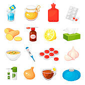 Cold, flue, influenza remedies. Mixture, pills, tablets, honey, capsules, hot water bag, ginger.