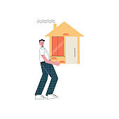 Man closed mortgage loan Character holding a house Modern flat illustration isolated on white background