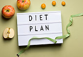 diet plan concept on green blackboard background with the inscription, next to fruits apples and kumquat