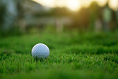Golf ball is on a green lawn in a beautiful golf course with morning sunshine
