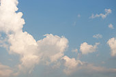 Bright blue sky with white clouds for background or wallpapers
