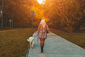Elegant woman and her golden retriever walking at the park