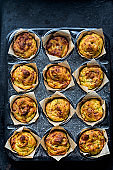 Cheese and onion mini muffins baked