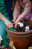Cut out of mother and toddler re-potting flowers together