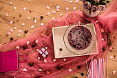 A decadent cake served on Valentine's day or anniversary