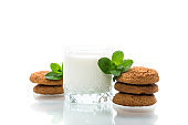 oatmeal cookies with a glass of fresh milk for breakfast