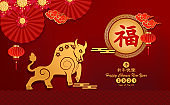 Happy Chinese new year 2021 year of the ox paper cut ox Asian elements with craft style on background. Chinese translation is Happy Chinese new year 2021