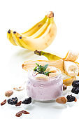 home sweet banana yogurt in a glass jar