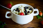 fresh homemade cottage cheese with summer berries
