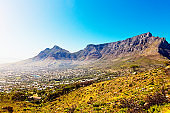 Looking up at the Majestic Table Mountain across Cape Town