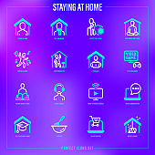 Stay at home. Self quarantine activities thin line icons set: don't panic, meditation, work at home, protect elderly, exercising, play video game, streaming, online shopping. Vector illustration.