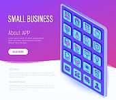 Small business web page template. Buttons on tablet with thin line isometric icons. Marketplace, market stall, delivery, job interview, growth chart, partnership, self employed. Vector illustration