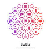 Devices in circle shape: smartphone, tablet, laptop, pc monoblock, game pc, gamepad, monitor, mouse, keyboard, webcam, printer, smart watch, smart speaker. Thin line icons. Vector illustration.