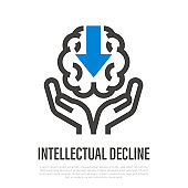 Intellectual decline. Brain with arrow to down in hands. Thin line icon. Memory loss, amnesia, Alzheimer's disease, dementia. Healthcare and medical vector illustration.