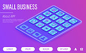 Small business web page template. Buttons on tablet with thin line isometric icons. Marketplace, market stall, home delivery, job interview, coworking, startup, growth chart. Vector illustration.