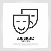 Mood changes: two face masks comedy and tragedy. Depression and happiness. Symptom of bipolar disorder, Alzheimer's disease. Thin line icon. Vector illustration.