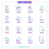 Washing hands thin line icons set: hand sanitizer, germs protection, liquid soap, dirty hands with microbes, hand dryer, paper towels, nail brush, antibacterial soap. Vector illustration.