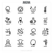 Angina symptoms. Bacteria, sore throat, weakness, headache, fever, antibiotics, coughing, throat spray, enlarged lymph nodes, airborne infection. Thin line icons set. Vector illustration.