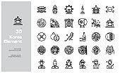 Vector Line Icons Set of Korean Element and Traditional. Editable Stroke.