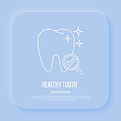 Dental care, preventive dentistry. Healthy tooth, tooth under magnifier with check mark. Thin line icon, vector illustration.