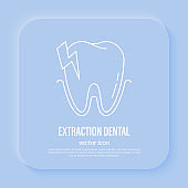 Dental surgery: tooth extraction. Toothache, dentistry. Thin line icon, vector illustration.