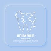 Dental treatment: teeth whitening, shining tooth. Thin line icon, vector illustration.