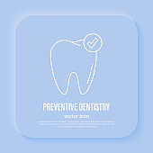 Preventive dentistry. Dental care. Healthy tooth, tooth with check mark. Flat gradient icon, vector illustration.