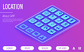 Location and navigation web page template. Buttons on tablet with thin line isometric icons. Pointer, pin, folded map, compass, route, flag, direction, search, traffic light, globe. Vector illustration.