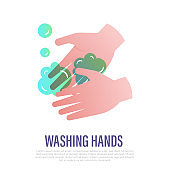 Washing hands with soap. Gradient icon. Hygiene for prevention coronavirus. Healthcare and medical vector illustration.