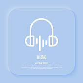 Music sign: headphones with wave. Audio, sound. Thin line icon for mobile app. Vector illustration.
