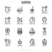 Alopecia and her types thin line icons set. Trichology, hair loss, hair follicle, mesotherapy, ampoules, hair transplant. Vector illustration.