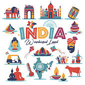 India set Asia country vector Indian architecture Asian traditions buddhism travel isolated icons and symbols.