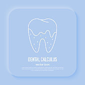 Dental calculus, tartar, gingivitis. Dental hygiene. Thin line icon, vector illustration.