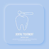 Drilling of tooth for filling, dental treatment, dentistry. Thin line icon, vector illustration.