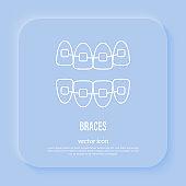 Orthodontics: braces, teeth correction. Dentistry. Thin line icon, vector illustration.