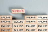 Wooden Blocks with Failure and Success Concept