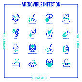 Adenovirus infection thin line icons set. Airborne disease, lymph nodes, fever, headache, runny nose, pharyngitis, moist cough, surgical mask, sore throat. Vector illustration of coronavirus symptoms