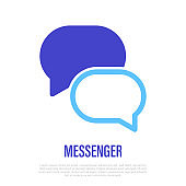 Messenger: two speech bubbles. Sign of conversation, discussion, chat. Thin line icon for mobile app. Vector illustration.