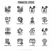 Financial crisis after pandemic.  Dollar inflation, deflation, oil price, walking on razor, emergency funds, unemployment, social benefit, humanitarian aid. Thin line icons set. Vector illustration.